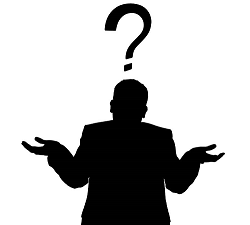 silhouette of man with question mark above head